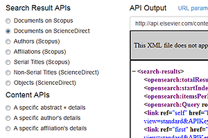 Elsevier: Sciverse API Playground (view in new window)